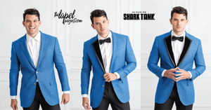 transformation from a blue suit into a tuxedo, the ultimate suit and tuxedo upgrade
