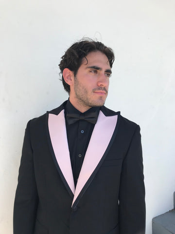 Blush satin Peak Lapels with Black Satin Trim