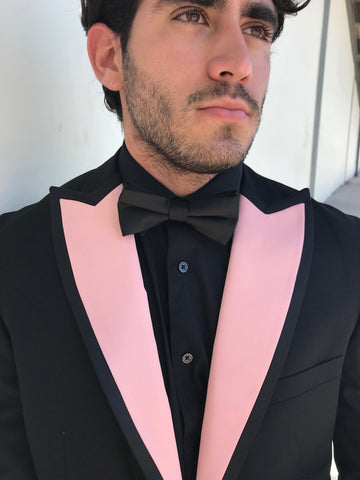 Pink Satin Peak Lapels with black satin trim