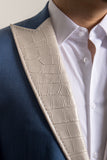 Cream Alligator Print Lapels