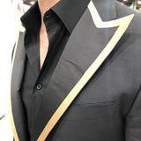 Black Satin Peak Gold Trim Lapels