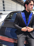 Royal Blue and Black Peak Lapel