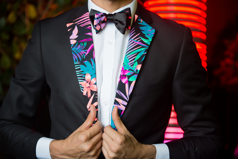 Miami's Vice Lapels Bow Tie Set