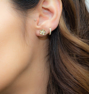 Samfa Style Large Diamond Flower Stud Earrings