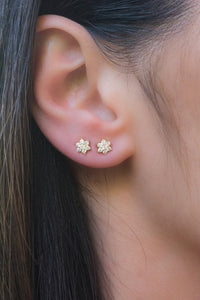 Samfa Style Small Diamond Flower Stud Earrings