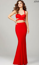 Jovani Red Crepe Two Piece Dress
