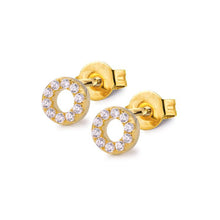 Samfa Style Circle Pave Stud Earrings