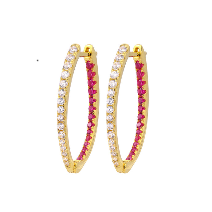 Samfa Style Oval Hoop with Pink Diamonds