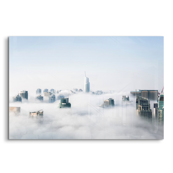 Dubai skyline clouds acrylic photo print modern wall art