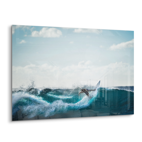 surfs up surfer riding a wave acrylic photo print modern wall art