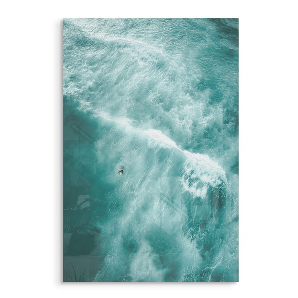 whitewater surfer in ocean aqua water acrylic photo print modern wall art