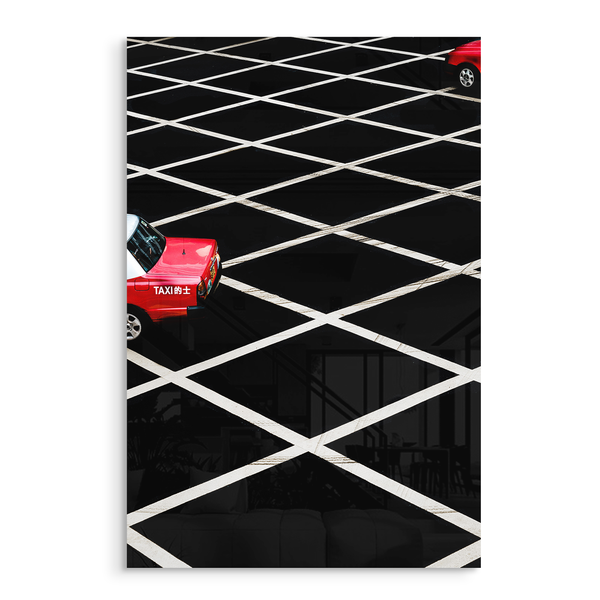 red taxi black white road acrylic photo print modern wall art
