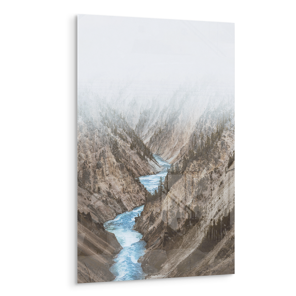 cloudy canyon blue river valley acrylic photo print modern wall art