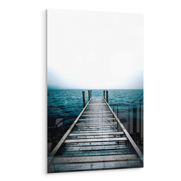 tranquility dock on blue water acrylic photo print modern wall art