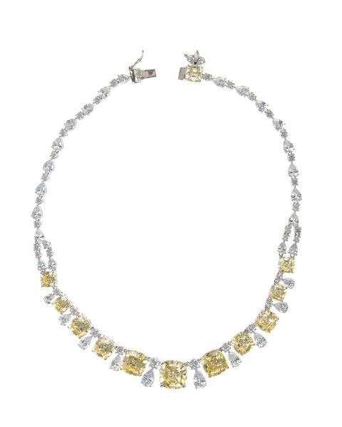 Cushion Cut and Pear Riviere Collar