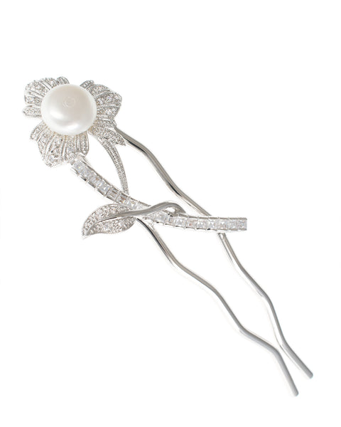 Stemmed Floral Pearl Hair Pin
