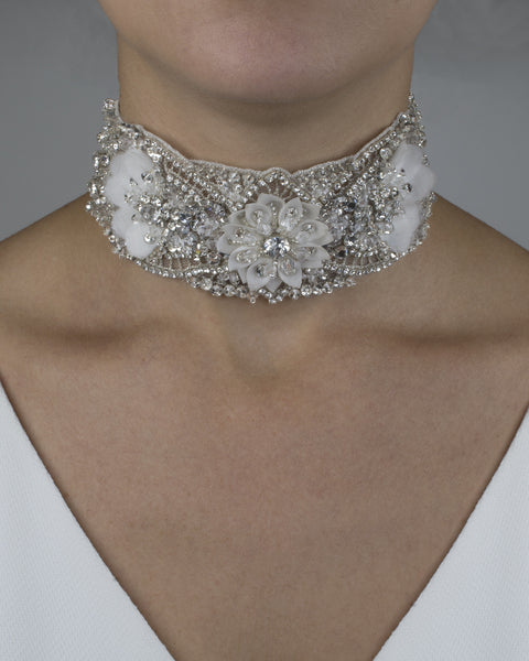 Sareh Nouri Floral Silk Crystal Choker with Cut-Outs