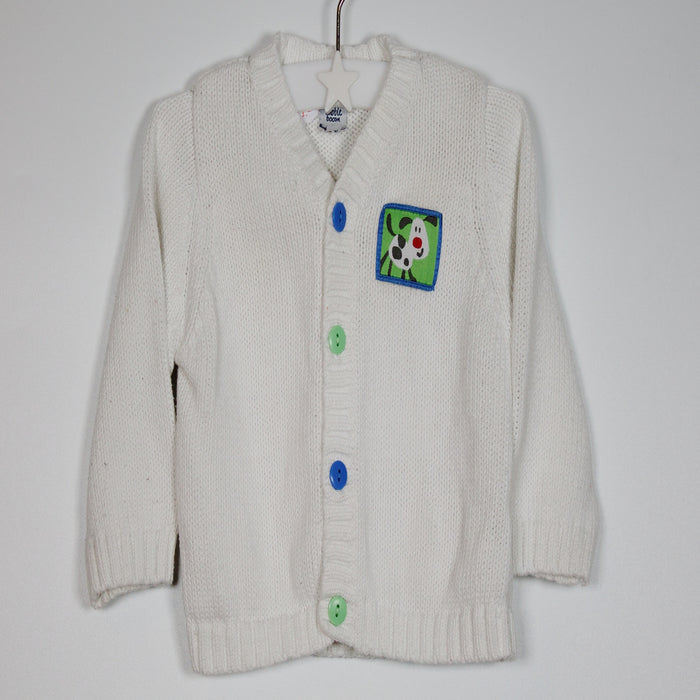 Boys Jumper - 03-06M White Woolen Cardigan