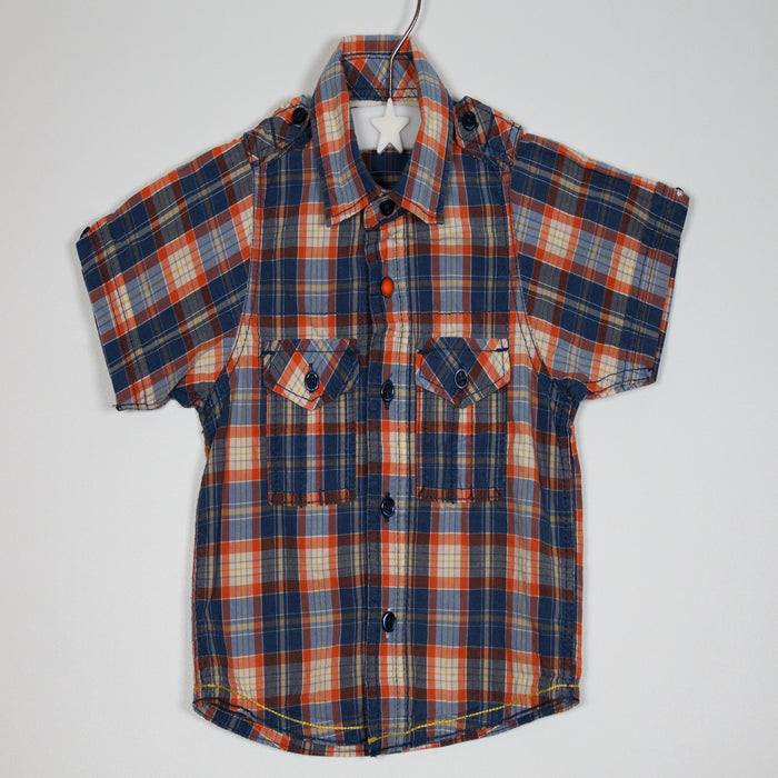 Boys Shirt - 09-12M Orange Check Shirt