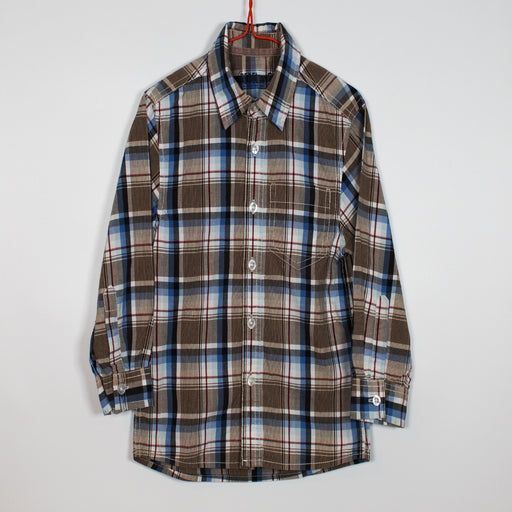 Boys Shirt - 48-60M/4-5Y Brown/Blue Check Shirt