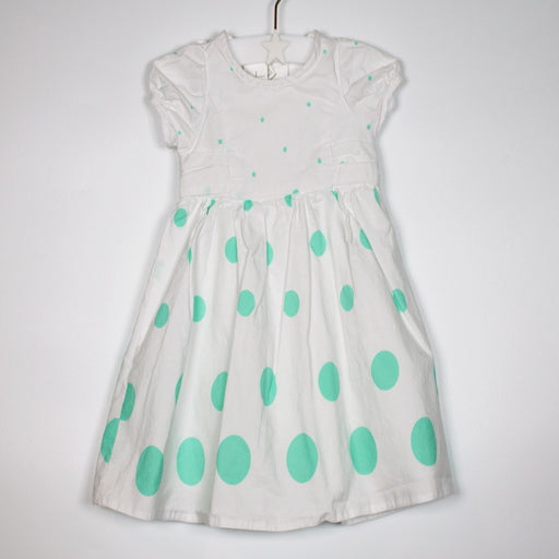 Dress - 00-03M White And Mint Dots Dress