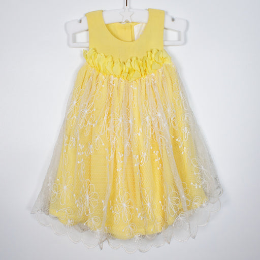 Dress - 00-03M Yellow And Lace Dress