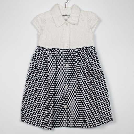 Dress - 09-12M Navy/White Polka Dress