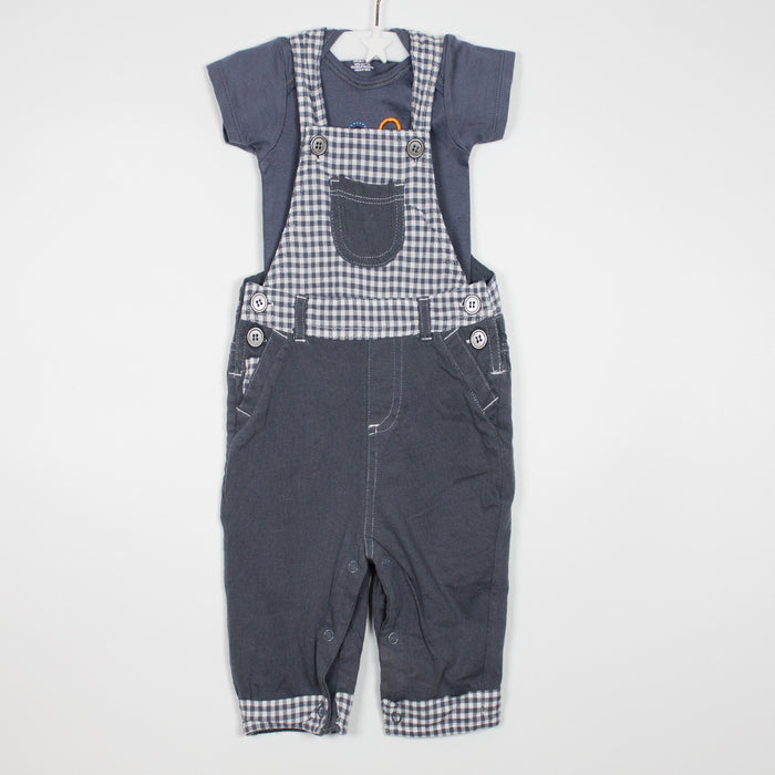 Set - 03-06M Grey Gingham Dungaree Set