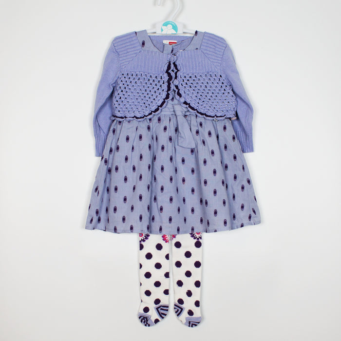 Set - 6-9M Blue Dress Set