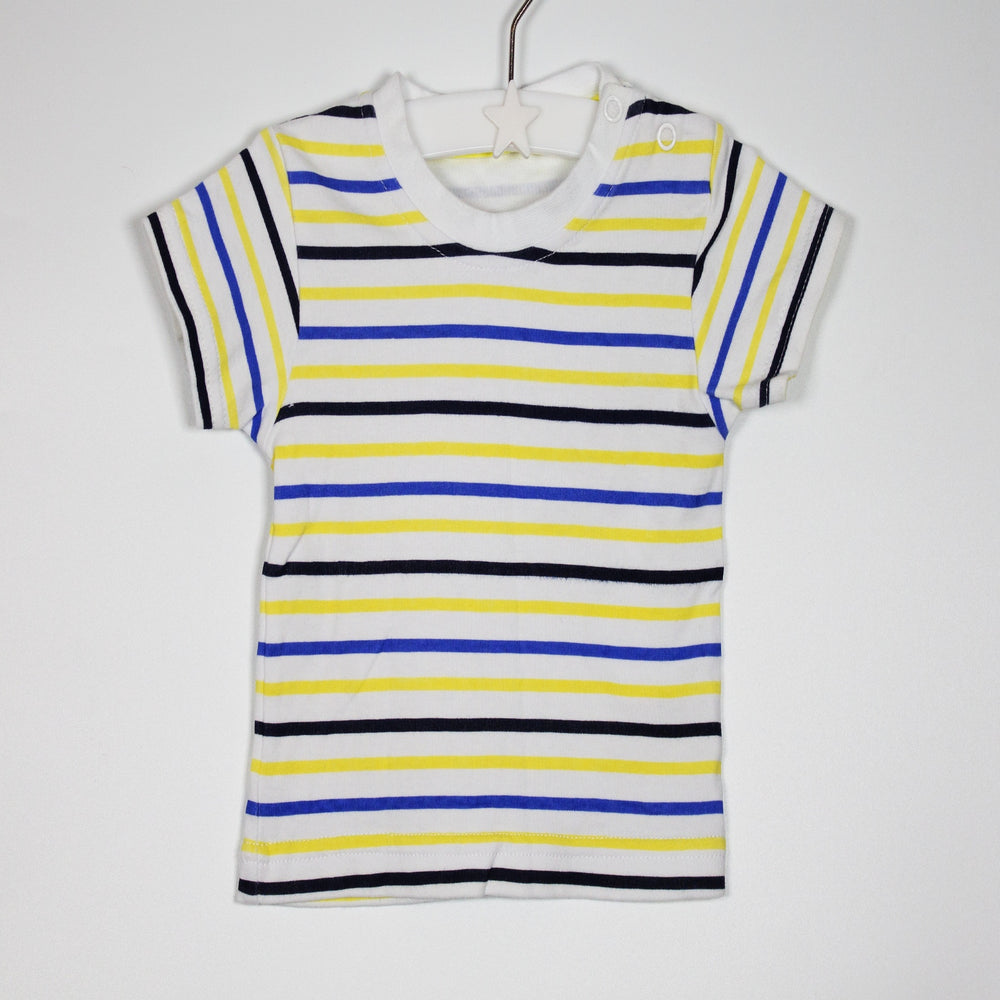 T-shirt - 06-09M White Striped Tee