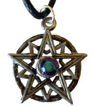 "1"" Pentagram, Double Blue Crystal Amulet"