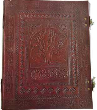 "10"" X 13"" Sacred Oak Tree Leather Blank Book W- Latch"