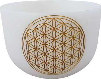 "18"" White Flower Of Life Crystal Singing Bowl"
