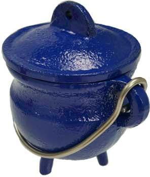 "3"" Blue Cast Iron Cauldron"