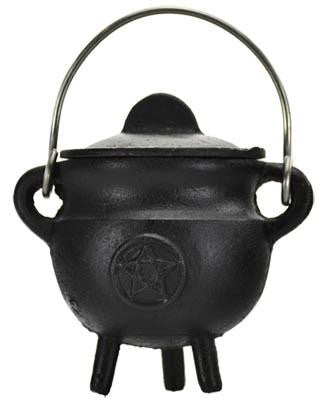 "2.75"" Pentacle Cast Iron Cauldron with Lid"