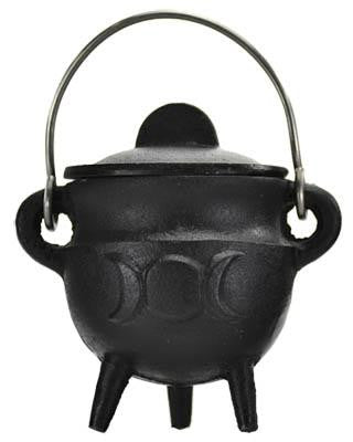 "2.75"" Triple Moon Cauldron with Lid"