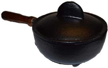 "3 1-2"" High X 4"" Wide X 8"" Long Cast Iron Cauldron W- Lid & Handle"