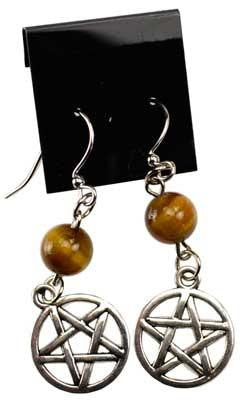 Tiger's Eye Pentacle Earrings