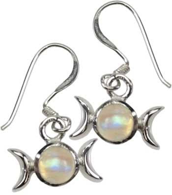 Rainbow Moonstone Triple Moon Earrings