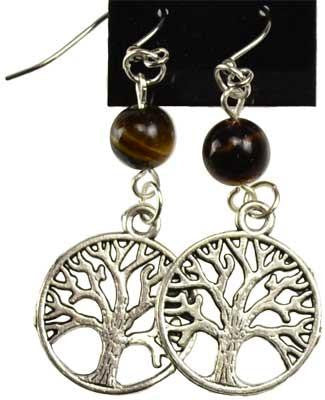 Tiger's Eye Tree of Life Earrings