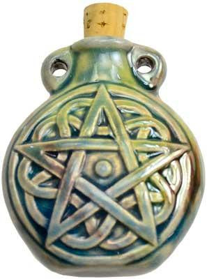 Pentacle Raku Bottle Charm