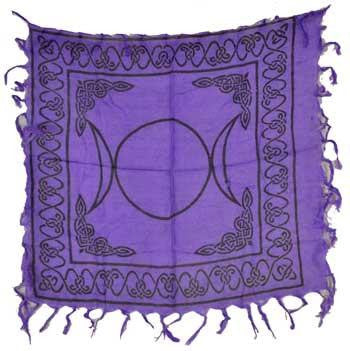"18"" x 18"" Triple Moon with Pentacle Altar or Tarot Cloth"