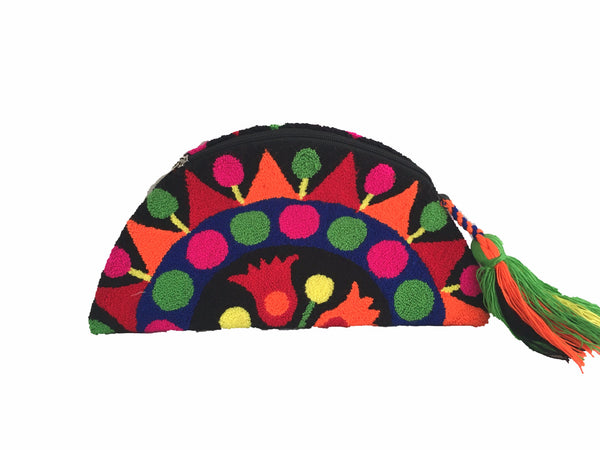Wayuu small clutch purse, semi circle shape with tassel and zipper - black base with multi color design