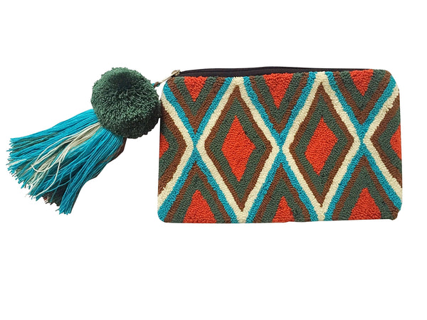 Image of Wayuu tapizado small clutch purse with pom pom tassel; rectangular shape colored teal, turquoise, brown, white and orange