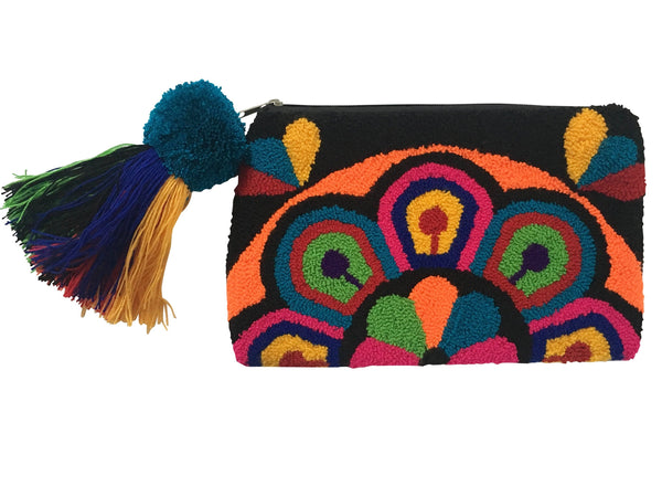 Image of Wayuu tapizado small clutch purse with pom pom tassel; rectangular shape colored black, pink, orange, red, blue, green