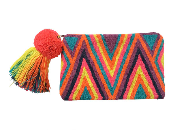 Image of Wayuu tapizado small clutch purse with pom pom tassel; rectangular shape with zigzag designs bright multi colored