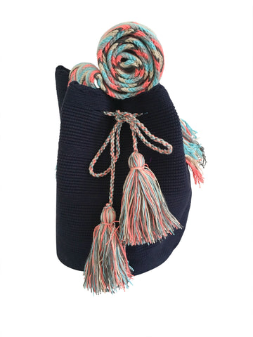 Image of two strand Wayuu mochila bag, drawstring crossbody bag with tassels - base color navy blue with colorful strap