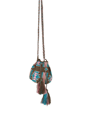 Image of Wayuu mini mochila bucket bag purse with braided cloth strap, drawstring and two tassels; bag has geo patterns colored green, blue and pink