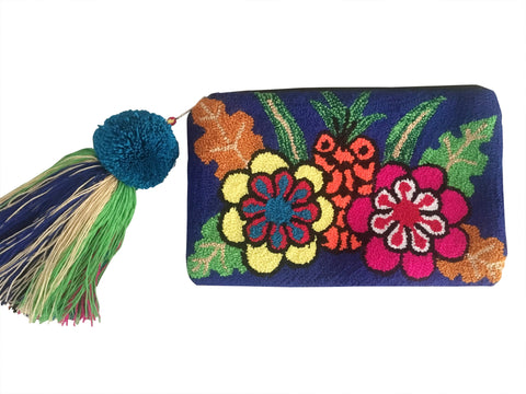 Image of Wayuu small clutch purse, semi circle shape with tassel and zipper - blue base with colorful fruit and flower design