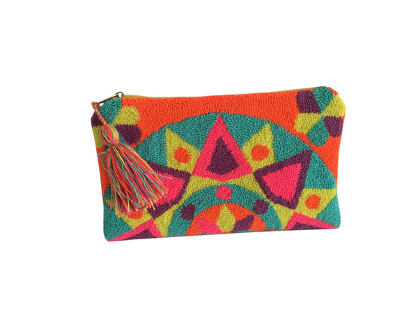 Image of Wayuu tapizado small clutch purse with tassel; rectangular shape colored bright orange, yellow, pink, purple, teal